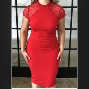 Dresses & Skirts - Open back red lace midi dress